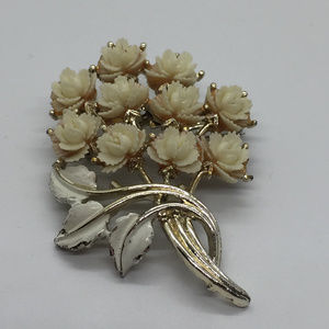 Floral Bouquet Brooch with Molded Flowers by JJ